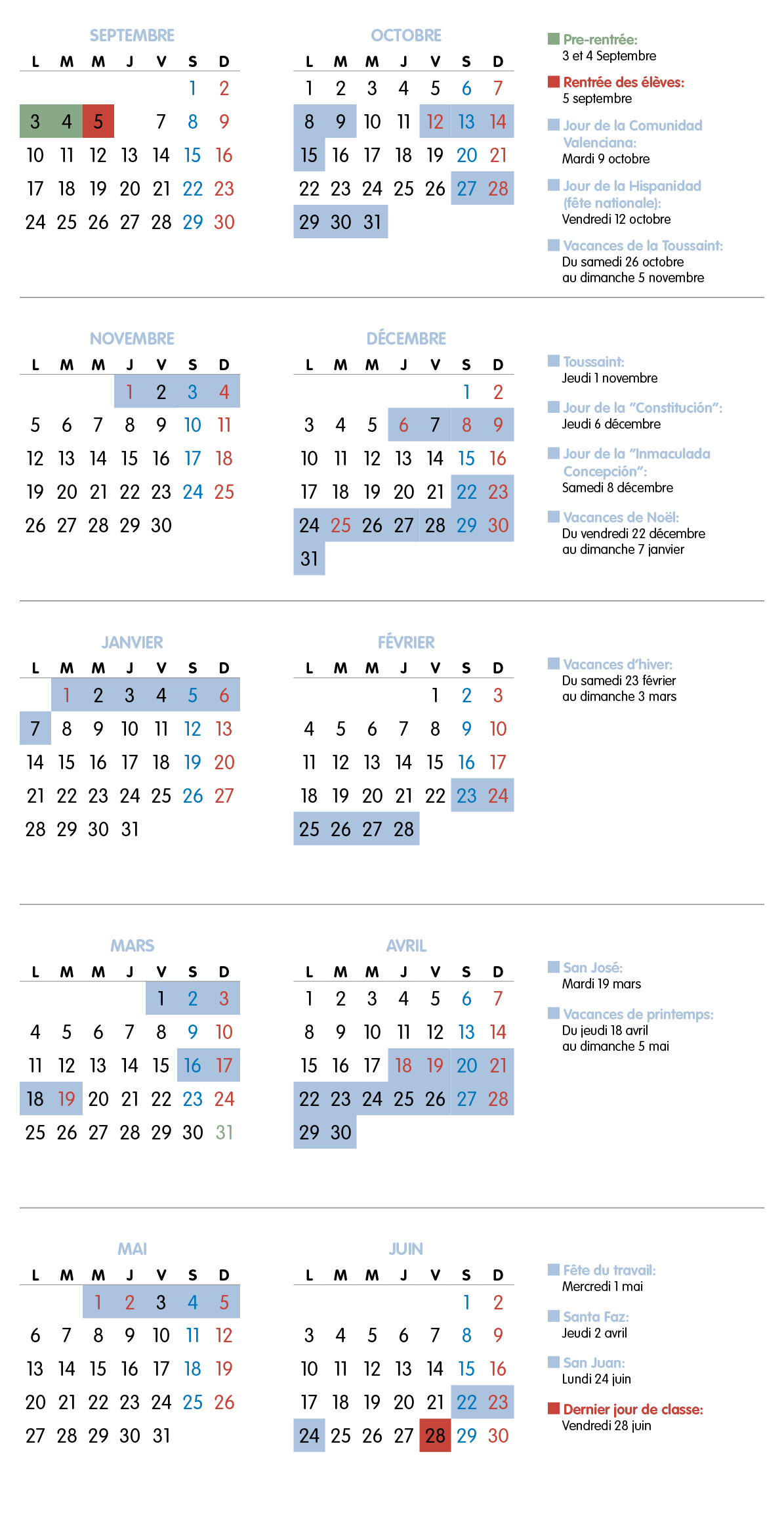 Calendrier Scolaire Liceo